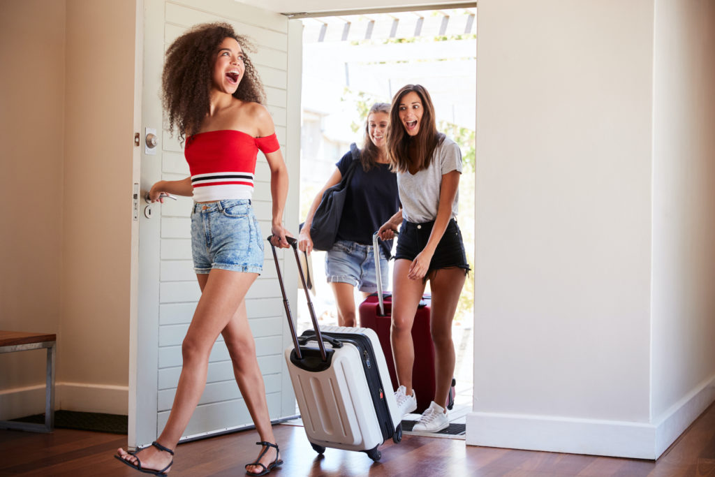 vacation rental friends suitcases clean safe fun