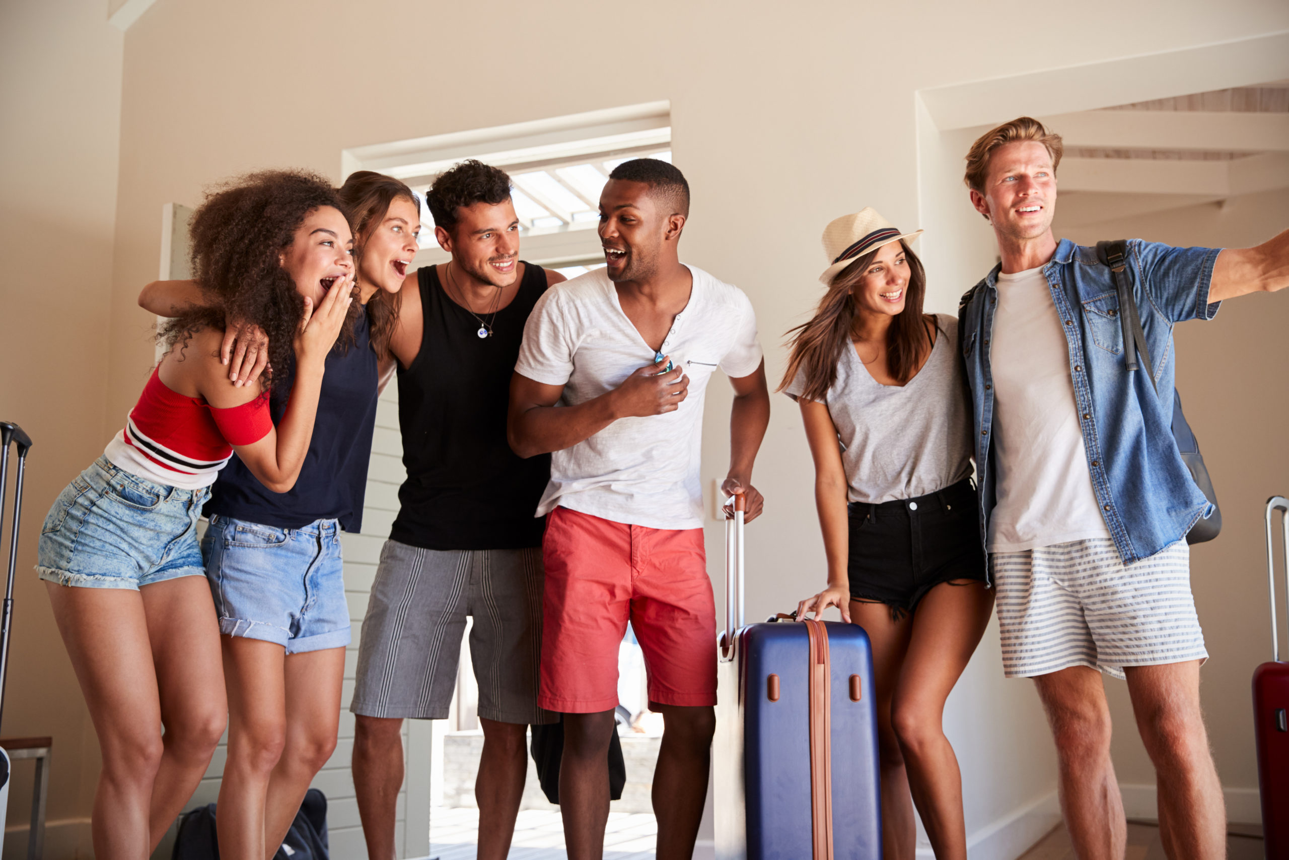 noise detection vacation rental house college students suitcases