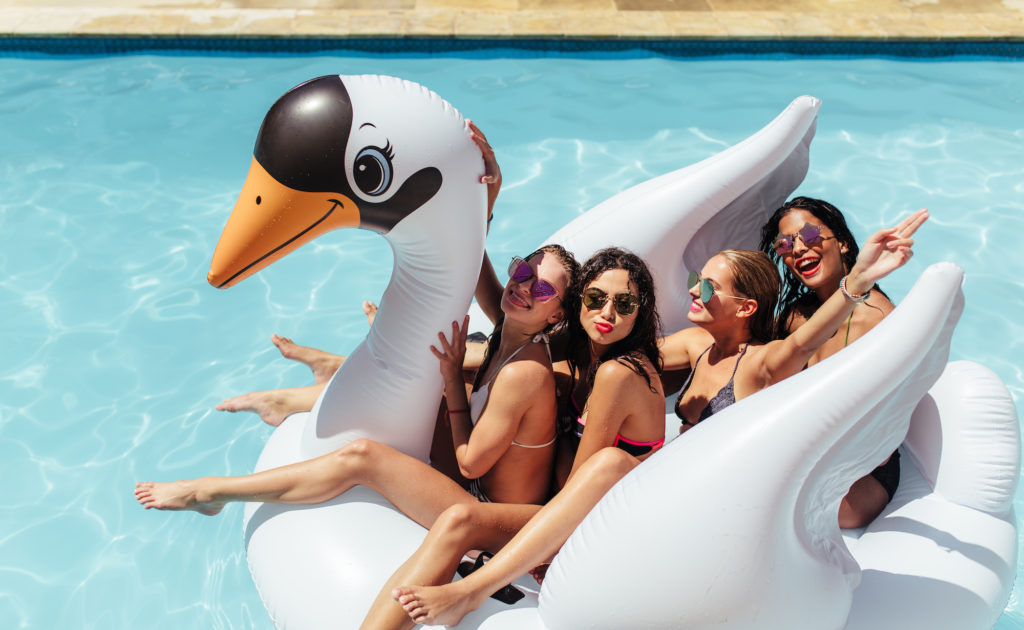 summer 2021 travel vacation swimming pool friends inflatable swan